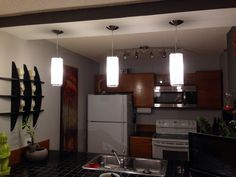 New modern pendants over the bar In our kitchen! Ikea Bar, Track Lighting, Pendants, Ceiling Lights, Kitchen, Modern, Home Decor, Cooking, Trendy Tree