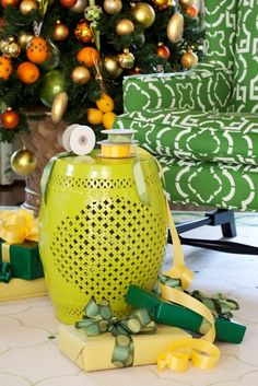 Tobi Fairley Holiday Decor, I want that garden stool ! Green Christmas, Merry Christmas, Christmas Ideas, Christmas Crafts, Orange Twist, Christmas Decorations, Holiday Decor, Tree Decorations, Winter Holidays