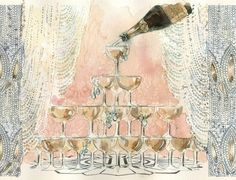 Champagne tower watercolor print