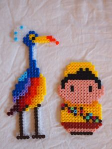 UP Pixar movie characters hama perler beads:  Kevin and Russell