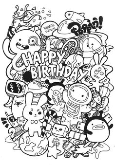 Doodle design for birthday card, coloring soon will be featured at my Etsy www.etsy.com/shop/PoppinCustom as additional item if you want to give customized product from my shop to your birthday fri...