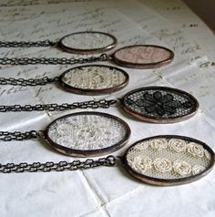 Items similar to Lace Jewelry Necklace Gift Set for Wedding Vintage Lace Rustic Wedding on Etsy - Jewelry inspiration - Soldering Jewelry, Resin Jewelry, Jewelry Crafts, Jewelry Art, Beaded Jewelry, Vintage Jewelry, Handmade Jewelry, Jewelry Necklaces, Jewelry Design