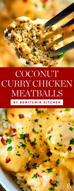Coconut Curry Chicken Meatballs by Bewitchin Kitchen. Get this and more recipes you can make with a can of coconut milk. #coconut #coconutmilk #coconutrecipes #healthyrecipes #healthy