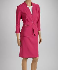 Take a look at this Shelby & Palmer Fuchsia Zip Pocket Blazer & Skirt on zulily today!