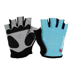 [$4.66] Qepae Outdoor Sports Bicycle Anti-Slip Breathable Half-Finger Gloves, Size: L (15x9cm)(Blue)