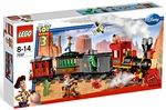 Name: Western Train Chase Manufacturer: LEGO   Series: LEGO Toy Story 3 Release Date: May 2010   Pieces: 584    Details (Description): Its a wild west train adventure with the Toy Story heroes! Times running out, partners! The Evil Dr. Porkchop has trapped Rex in a boxcar packed with dynamite aboard a runaway train, and its up to his friends to save him! As Woody bravely battles Porkchop on top of the train, Jessie rides Bullseye in hot pursuit and Buzz flies in for a last-second resc...