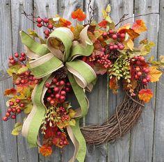 Items similar to Wreaths fall wreath autumn wreath monogram wreath berry leaf wreath front door wreath burlap bow Thanksgiving fall door wreaths on Etsy Easy Fall Wreaths, Thanksgiving Wreaths, Thanksgiving Decorations, Wreath Fall, Spring Wreaths, Silk Flower Wreaths, Sunflower Wreaths, Berry Wreath, Monogram Wreath