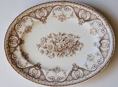 Brown Vintage Transferware Platter Shabby French Victorian Roses