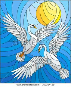 Illustration in stained glass style with a pair of swans on the background of the daytime sky and clouds Glass Painting Patterns, Stained Glass Patterns, Faux Stained Glass, Stained Glass Panels, Painting Corner, Swans, Batik Art, Indian Folk Art, Illustration