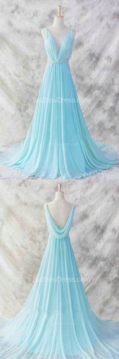 A Line Straps Sleeveless Sweep Train Sequins Blue Prom Dress