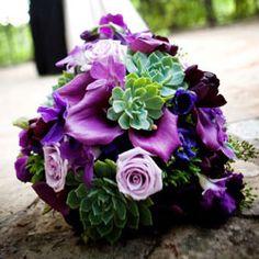 bouquet of purple mini callas, lavender rose, succulents, anemones, tulips and orchids