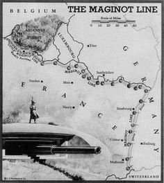 A map showing the area covered by the Maginot Line -- and its deadly weakness.