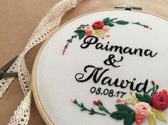 Floral wedding embroideryEmbroidery hoopHand