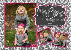 Christmas Cards Photo Options Gray Damask Hot Pink Landscape or Portrait Customizable Printable 4x6 or 5x7