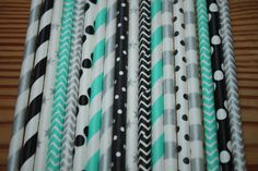 tiffany blue, black, silver straws for a cute girl party, breakfast at tiffanys theme party    listing is for 30 straws, blue, silver and black -- $5.00