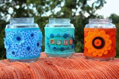 Recycle pickle jars into usable storage using Mod Podge and fabric!