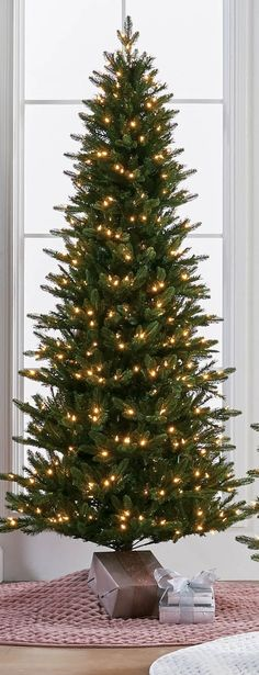 Inspired by the majestic trees dotting the mountains of Montana's Gallatin National Forest, this lifelike evergreen has a slender silhouette ideal for smaller spaces. Designed with natural pockets for decorating, and illuminated by up to 700 warm white LEDs. White Led Lights, White Lead, National Forest, Evergreen, Small Spaces, Trees, Christmas Tree, Indoor, Silhouette