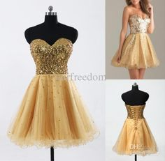 Wholesale In Stock Cheap Homecoming Dresses Gold Sequin Sweetheart A Line Short Tulle Cocktail Party Prom Gowns New 100% Real Image Hot Sale 2015, Free shipping, $40.51/Piece | DHgate Mobile