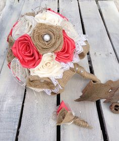 Burlap Bouquet Coral Wedding Wedding by silverboutiquecrafts  $100 silverboutiquecrafts.etsy.com Available in sets