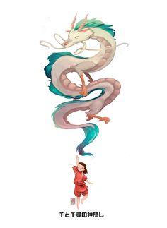 spirited away kohaku and chihiro artwork by sapolendario