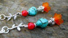 Desert Flower Garden- Beaded Lucite Flower, Turquoise nugget, Silver Branch Beaded Dangle Earrings