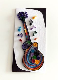 quilling guitar Quilling Cards, Facebook Sign Up, Crochet, How To Make, Guitar, Ganchillo, Crocheting, Knits, Chrochet