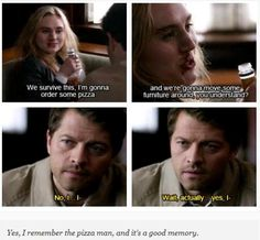 """We survive this, I'm gonna order some pizza...."" Goodbye Stranger, 8.17, saddest episode by far! I cried! Poor Cas will never know that Meg truly cared for him.... :'( *sigh*"