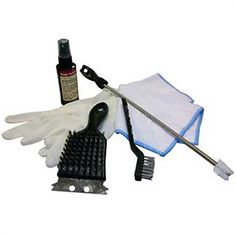 Multi-surface grill cleaner and polish for use on porcelain or stainless steel grills. Microfiber reusable polishing cloth. Grate cleaning brush with built-in scraper. Small wire brush. Burner tube cleaning rod. http://click.linksynergy.com/link?id=MQWvUTzqMG0&offerid=294781.4984413&type=2&murl=https%3A%2F%2Fcharbroil.affiliatetechnology.com%2Fredirect.php%3Fnt_id%3D5%26url%3Dhttp%3A%2F%2Fwww.charbroil.com%2Fpremium-tune-up-kit-for-gas-grills.html