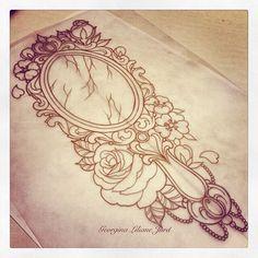 hand mirror tattoo