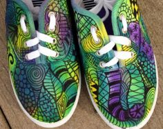 Zentangle sneakers shoes sneakers zentangle by ArtworksEclectic