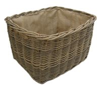 Massive Robust Rectangular Log Basket, Hessian Lined - Detailed item view - Thyme and Season
