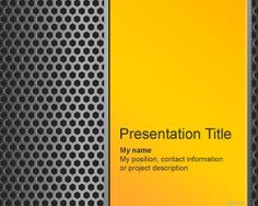 Free Iron PowerPoint Template with metal background and yellow color