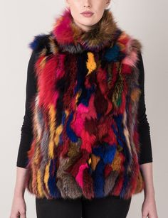 Sculpted Multi Color Fox Vest. Fur Fashion.