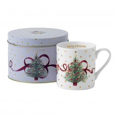Old Country Roses Christmas Tree Mug In Tin