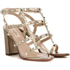 Valentino Rockstud Metallic Leather Sandals (1,415 CAD) ❤ liked on Polyvore featuring shoes, sandals, gold, high shoes, metallic gold sandals, metallic gold shoes, valentino sandals, metallic leather sandals and metallic shoes