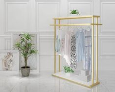 Golden clothes shelf clothing store in the island frame double sided women's clothing store bag display rack floor double row. Hanging Clothes Racks, Clothes Shelves, Womens Clothing Stores, Clothes For Women, Women's Clothing, Clothing Store Displays, Bag Display, Frame Bag, Roll Cage