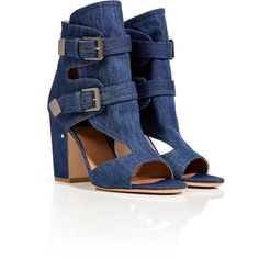 """Add a kick of cool to your contemporary spring looks with Laurence Dacade's open-toe denim """"Doony"""" sandals. Open toe, buckled straps, beauty mark stud on heel,…"""