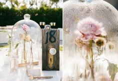 'Beauty & The Beast' centerpieces - I don't know so much about the table numbers, but the roses under the cloche jar are so pretty!