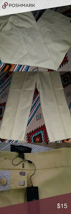 TALBOTS SIGNATURE CROP PANT NWT SZ 6 Pale yellow signature  crop pant from Talbots.  These sit slightly below the waist.  Brand New with the tags still attached.  High quality from Talbots Talbots Pants Ankle & Cropped