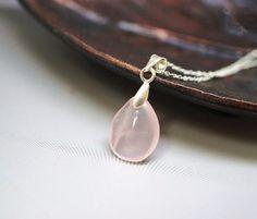 Tiny Rose Quartz Necklace Genuine Rose Quartz by CrystalFairyUSA