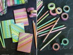 Школа, тетради, карандаши. Украшение декоративным скотчем.  Back to school