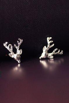 Santa's Silver Reindeer Studs!!