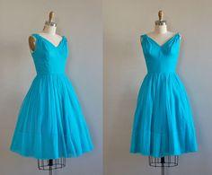 1950s dress / silk 50s dress / Brilliantine dress