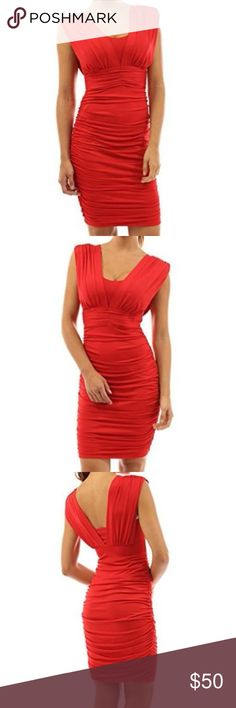 NWOT Patty Boutik V Neck Sexy Sleeveless Red Dress Padded bust to maximize sexy cleavage and support A to D bust. Fitted to accentuate waist curve. Soft stretchy material can fit XS, S & M. Fully lined. Ruched sides. Fabric: 90% Polyester 10% Spandex; Lining: 100% Polyester. tags: office work fashion style stylish trendy NYC celebrity hollywood stars party new years Christmas holiday cocktail dinner classy wedding graduation romantic rose bright valentines sweet heart sweetheart low cut…