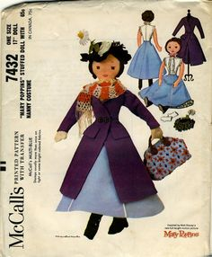 "Vintage Cloth Doll Patterns: McCall's 7432 - 17"" Mary Poppins doll"