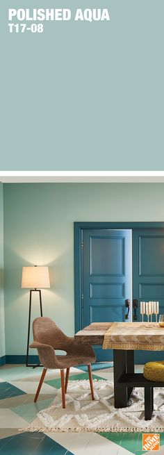 A light application of blue-green that lends excitement to spaces big and small. Learn more about Behr's 2017 Colour Trends at HomeDepot.ca: http://hdepot.ca/2tTUJ1E Behr Paint Colors, Kitchen Paint Colors, Wall Colors, Blue Green Paints, Colour Trends, Bedroom Colors, Colorful Decor, Home Reno, At Home Gym