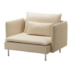 IKEA - SÖDERHAMN, Fauteuil, Isefall écru, , Série pour le salon dont les éléments s'utilisent ensemble ou séparément, au choix.SÖDERHAMN offre une assise profonde, basse et douce, avec des coussins de dossier souples pour un soutien supplémentaire.La sangle élastique dans le bas du canapé et la mousse haute résilience dans les coussins d'assise offrent un confort souple avec une légère élasticité.Tissu épais et très résistant, légèrement brillant, et doux au toucher.La housse est…