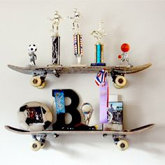 A great way to preserve my son's old skateboards and give them a new life.