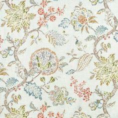 "Green Jacobean Curtains | ... "" AQUA RED OLIVE GREEN JACOBEAN PRINT FLORAL FABRIC 1.58 YD | eBay"