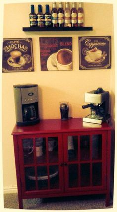 My coffee bar :) Coffee Corner Kitchen, Coffee Nook, Coffee Bar Home, Coffee Bars, Tea Bars, Coffee Wine, Coffee Bar Station, Home Coffee Stations, Cafe Bar